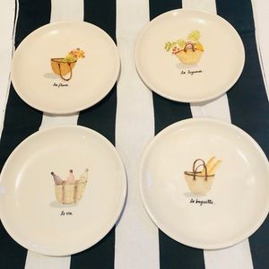Rae Dunn 4 French Picnic Plates